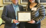 Larkin College of Pharmacy Student Nelly Ruiz (Right) receiving award at FALSCO Conference
